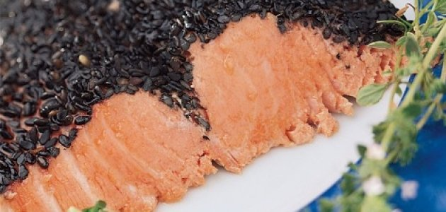 Cold Salmon with Black Sesame Crust and Herb Mayonnaise