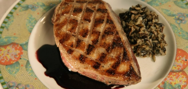 Grilled Goose Breasts with Port Wine Sauce and Wild Rice