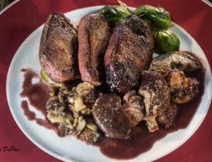 Wild Duck Breasts with Sautéed Mushrooms & Port Wine Sauce