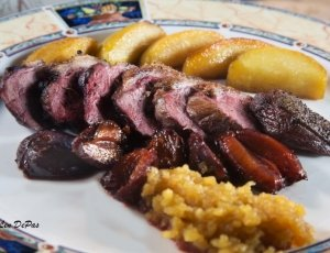 Duck Breasts with Apples & Plums and Homemade Applesauce